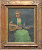 Sale 8257A - Lot 44 - Daisy M Brookes (XX) - Woman and Guitar 33.5 x 26.5cm