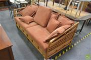 Sale 8257 - Lot 1078 - Cane Frame Three Seater Sofa Bed