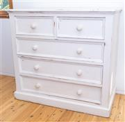 Sale 8380A - Lot 83 - A cream painted timber chest of two short and three long drawers, H 104 x W 110 x D 55cm