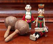 Sale 8815A - Lot 74 - A small group of Vietnamese timber figures together with some maracas