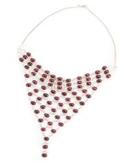 Sale 8899 - Lot 321 - A SILVER GARNET NECKLACE; set with 71 oval cabochon garnets to filed curb link chain, length on chain 45cm, pendant length 14cm, 51g.
