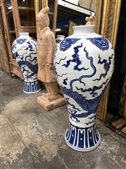 Sale 8896 - Lot 1009 - Pair of Large Chinese Meiping Blue & White Dragon Vases