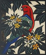 Sale 8907 - Lot 518 - Leslie Van Der Sluys (1939 - 2010) - King Parrot & Native Frangipani, 1988 39.5 x 31 cm
