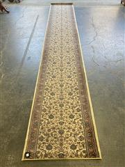 Sale 9051 - Lot 1043 - Persian Cream Red and Blue Tone Hall Runner with Floral Decal (500 x 79cm)