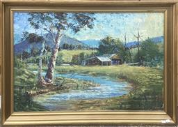 Sale 9106 - Lot 2082 - Eric Whisson Shack by the Creek oil on board 73 x 103 cm (frame) signed lower left