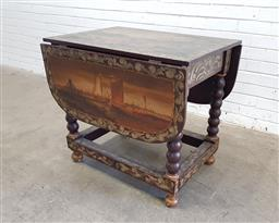 Sale 9126 - Lot 1130 - Late 19th/ Early 20th Century Elaborately Painted Gate-Leg Table, in the 17th century manner, the top with possibly a merchant scene...
