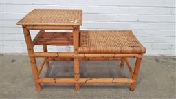 Sale 9157 - Lot 1049 - Cane stepped two tier side table (h:66 w:93 d:41cm)
