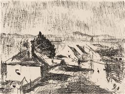 Sale 9214 - Lot 506 - LLOYD REES (1895 - 1988) Suburban Hobart, 1982 lithograph, ed. 37/75 30 x 39.5 cm (frame: 55 x 62 x 2 cm) signed and dated lower right