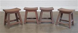 Sale 9240 - Lot 1072 - Set of 4 curved top recycled timber stools (h45cm)