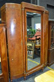 Sale 7987A - Lot 1394 - 1920s French Burr Kingwood & Marquetry Armoire with Central Mirrored Door Flanked by 2 Arched Doors. (Natural Moulding in office)