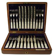 Sale 7995 - Lot 43 - William Drummond & Co Mother of Pearl Handled Fruit Cutlery Set