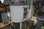 Sale 8331 - Lot 1357 - Oval Top Timber Cabinet with Leadlight Panel Doors on Castors