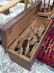 Sale 8476 - Lot 1090 - Cedar Box Containing Pairs of Childrens Shoe Lasts