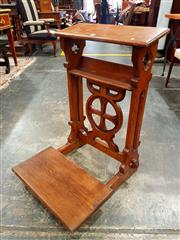 Sale 8693 - Lot 1083 - Early 20th Century Oak Prie-Dieu, with bible shelf, round cross medallion & kneeler