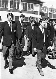 Sale 8754A - Lot 43 - NSW Wallabies Catch Flight to Hong Kong, 10 July 1966 - embarking on a five month tour of the British Isles, France and Canada. 29 x...