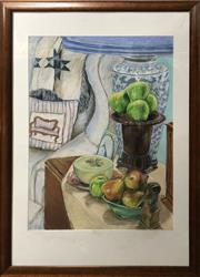 Sale 8759 - Lot 2100 - Artist Unknown - Interior Still Life Scene, pastel on paper, 107 x 77cm (frame), signed