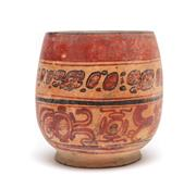 Sale 8864 - Lot 13 - Pre-Columbian Mayan pottery cylindrical Copador style polychrome bowl, Late Classic period. Banded decoration with pigments. Height...