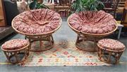 Sale 8942 - Lot 1066 - Pair of Cane Papasan Chairs Together with Matching Footstools (4) (D: 124cm)
