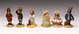 Sale 9098 - Lot 44 - A collection of mostly Royal Doulton Bunnykins figures (5) together with a Beswick example Knitting
