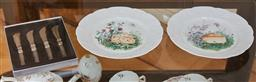 Sale 9098H - Lot 76 - A pair of Limoges cheese plates together with four spreaders.