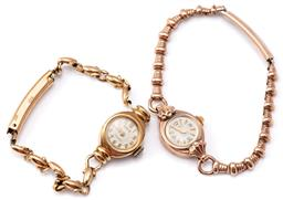 Sale 9124 - Lot 514 - TWO LADIES VINTAGE WRISTWATCHES; a 9ct gold Cyprus Deluxe with 17 jewel movement, gold plated band, other a gold plated Astin with 1...
