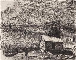 Sale 9216A - Lot 5024 - LLOYD REES (1895 - 1988) The Shed, Karinya, New South Wales 1982 lithograph, ed. 37/75 30 x 39.5 cm (frame: 55 x 62 x 2 cm) signed a...