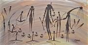 Sale 8134A - Lot 30 - Kevin Waina (XX) - Untitled (Rock Painting) 61 x 122cm (framed and ready to hang)