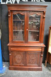 Sale 8147 - Lot 1013 - Mahogany Bookcase with Glass Panel Doors Above Single Drawer & 2 Doors