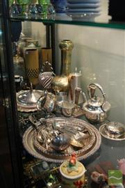 Sale 8226 - Lot 77 - Silver Plated Tray With Other Plated Wares Inc a Teapot & a Brass Garlic Head Vase