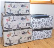 Sale 8380A - Lot 86 - Three graduated travel motif storage boxes, together with four fabric examples. Largest of the storage boxes measures:  height 36 x...