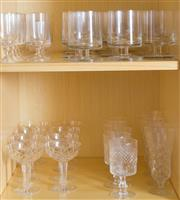 Sale 8486A - Lot 42 - Two shelf lots of various stemmed glass wares including champagne, sherry and footed tumblers