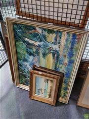 Sale 8619 - Lot 2089 - Collection of Artworks incl Cassidy - Foreshores, Jervis Bay, Oil on Board, SLL & Scotch Whiskey Advertising Mirror