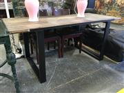 Sale 8782 - Lot 1733 - Modern Timber Top Dining Table on Metal Legs