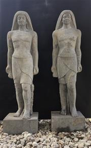 Sale 8857H - Lot 17 - A Pair of Impressive Solid Carved Stone Egyptian Pharaoh Figures ,Each Statue Carved Form One Piece Of Genuine Stone , General Wear ...