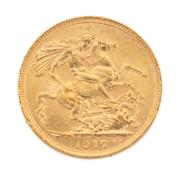 Sale 8855H - Lot 67 - 1917 gold sovereign weight approx 7.95g, S above 1917