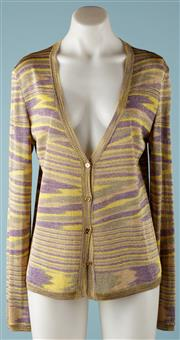 Sale 9090F - Lot 78 - A VINTAGE MISSONI V NECK CARDIGAN; green and mauve lurex, medium sizing, missing lowest button.