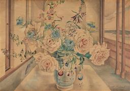 Sale 9116 - Lot 594 - Muriel Medworth (1903 - 1969) Still Life, 1943 pencil drawing and watercolour 37.5 x 53.5 cm (frame: 54 x 70 x 3 cm) signed and date...
