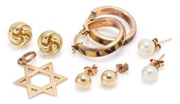 Sale 9160 - Lot 306 - A GROUP OF 9CT GOLD JEWELLERY; star of David pendant, pair of 18.5mm long hoop earrings with enamel inlay to lever fittings, pair of...