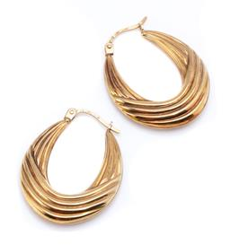Sale 9194 - Lot 525 - A PAIR OF 9CT GOLD HOOP EARRINGS; ovoid shape with reeded pattern on lever fittings, size 28.23 x 4.5 x 22.5mm. wt. 2.47g.