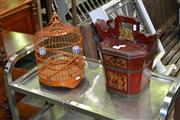 Sale 8115 - Lot 1070 - Small Timber Bird Cage & Small Oriental Container