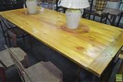 Sale 8257 - Lot 1022 - Timber Top Industrial Table, on metal base and castors