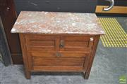 Sale 8272 - Lot 1001 - Marble Top Cabinet with Two Doors above Drop Front Door