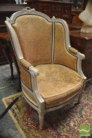 Sale 8291 - Lot 1015 - Louis XVI Style Carved & White Painted Fauteuil, with studded old tapestry upholstery, on turned legs.