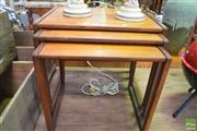 Sale 8326 - Lot 1090 - G-Plan Teak Nest of Three Tables with Parquetry Tops