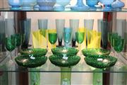 Sale 8340 - Lot 90 - Coloured Glass Drink Wares with Green Glass Footed Bowls