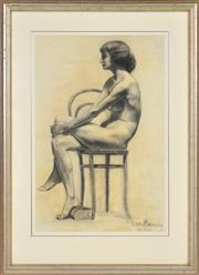 Sale 8382 - Lot 506 - Constance Tempe Manning (1896 - 1960) - Untitled, 1915 (Seated Nude) 57.5 x 38cm