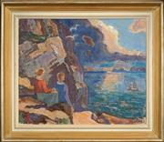 Sale 8459 - Lot 592 - Albert Eldh (1878 - 1955) - Looking Out to Sea 53 x 64cm