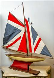 Sale 8500A - Lot 24 - A vintage style Union Jack pond yacht - Condition: As New. Measurements: 70cm wide x 88cm High