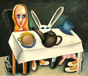 Sale 8527A - Lot 37 - Charles Blackman (1928 - ) - Feet Beneath the Table 66 x 76cm