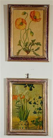 Sale 8882H - Lot 59 - Two small timber framed prints of floral studies after the antique, 31cm x 23cm
